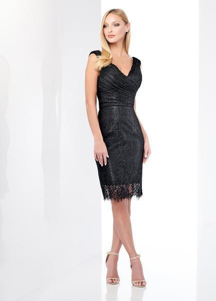 Social Occasions by Mon Cheri - 218804 Ruched V-Neck Cocktail Dress In Black