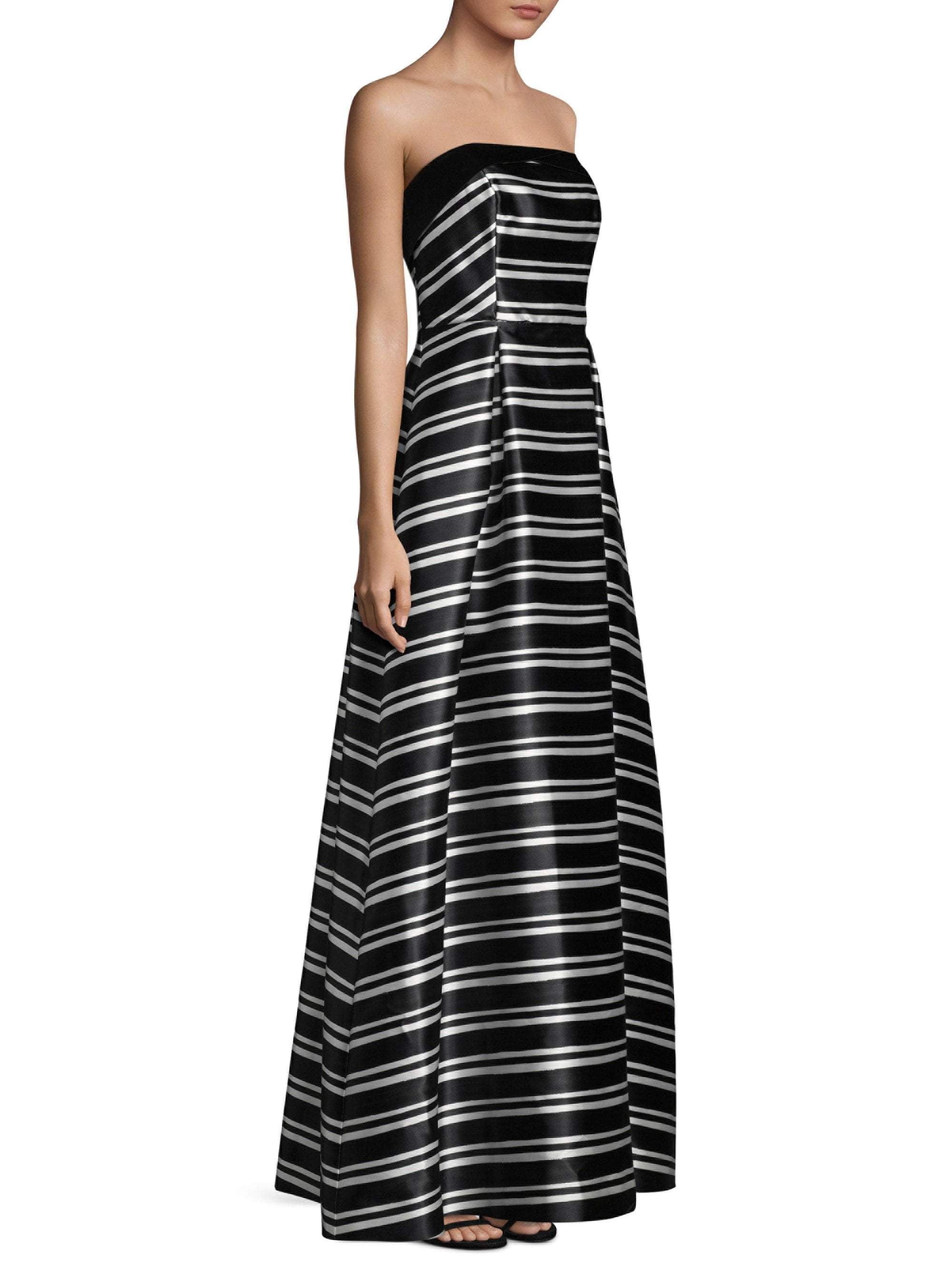 Laundry - 97R15202 Strapless Striped Mikado Ballgown In Black