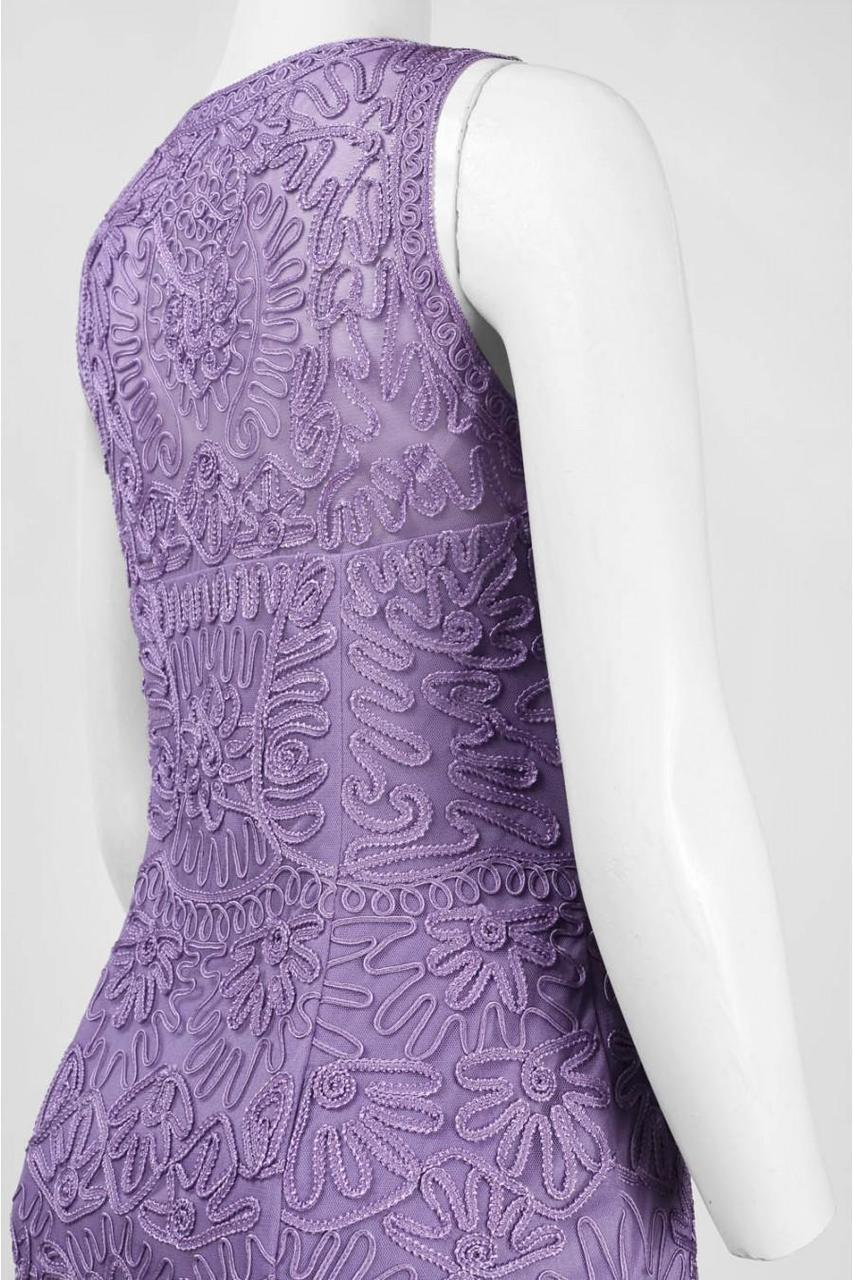 Sue Wong - Embroidered Bateau Neck Sheath Dress N5167 in Purple