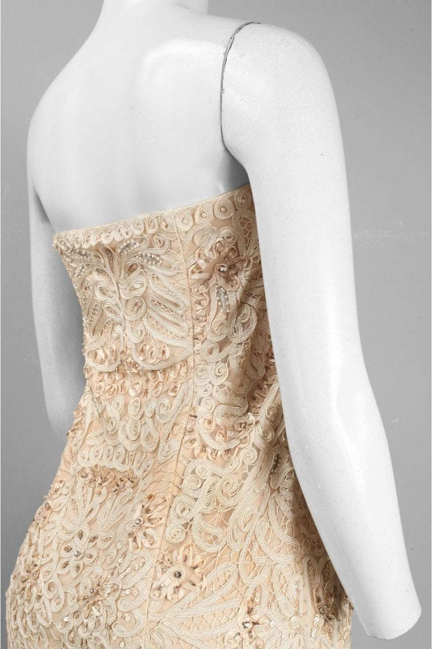 Sue Wong - S0300 Strapless Ribbon Appliqued Sheath Dress in Neutral