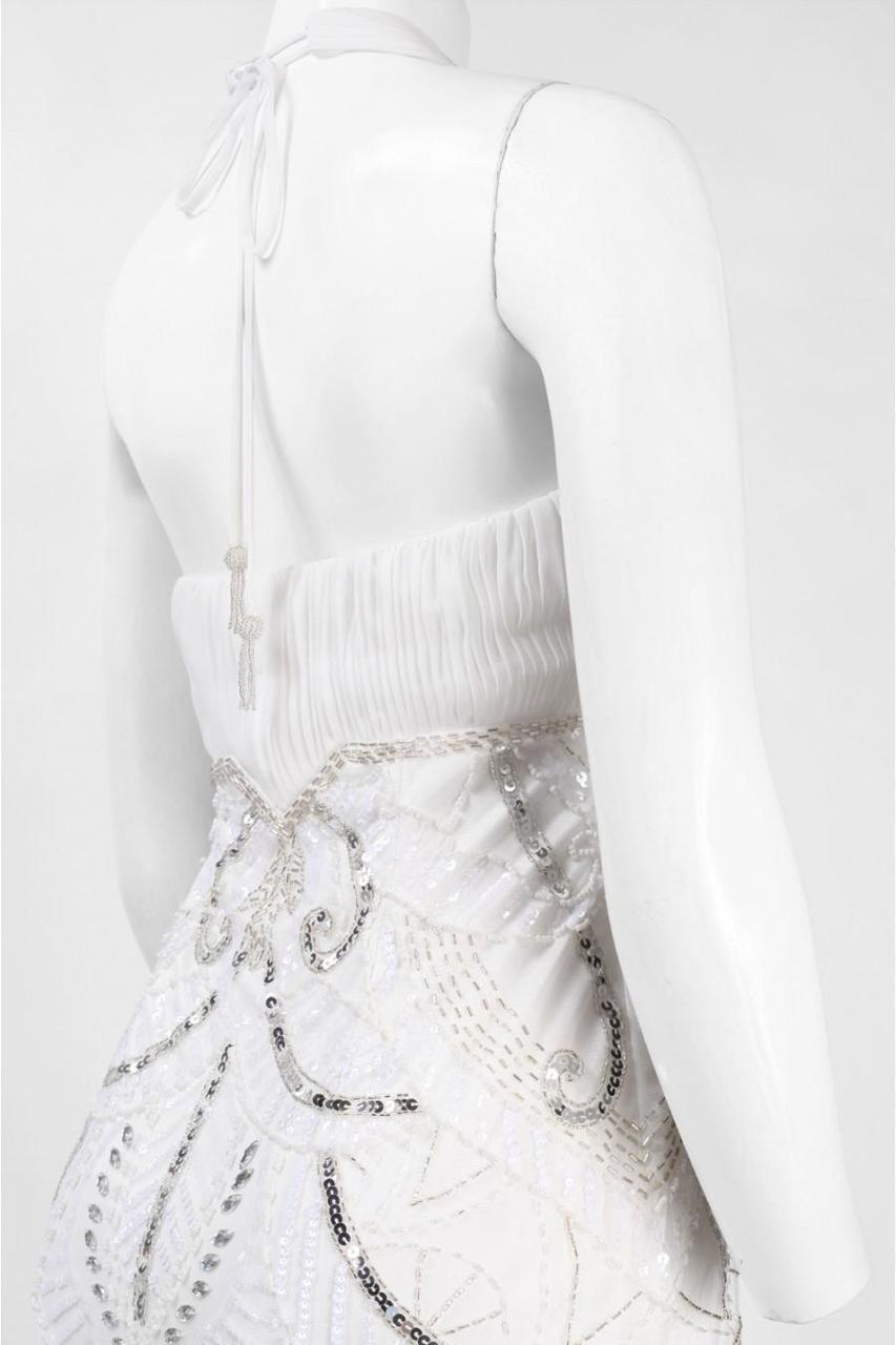 Sue Wong W5231 Sequined Art Deco Halter Dress - 1 pc White In Size 8 Available In White