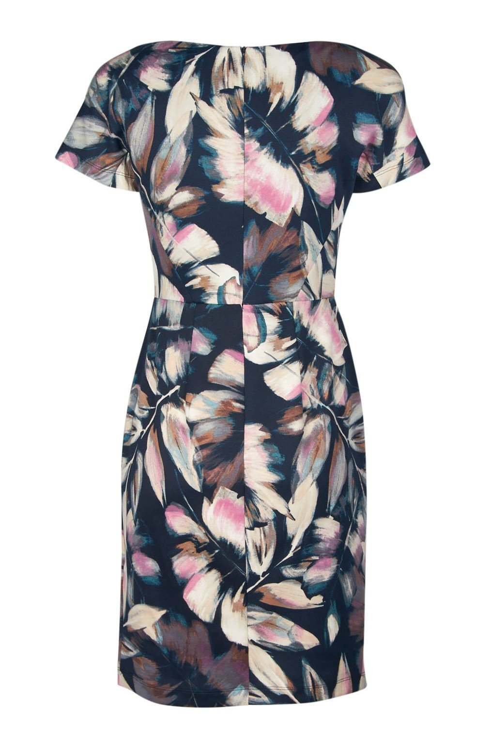 London Times - T3534M Floral Print Bateau Sheath Dress In Blue and Pink