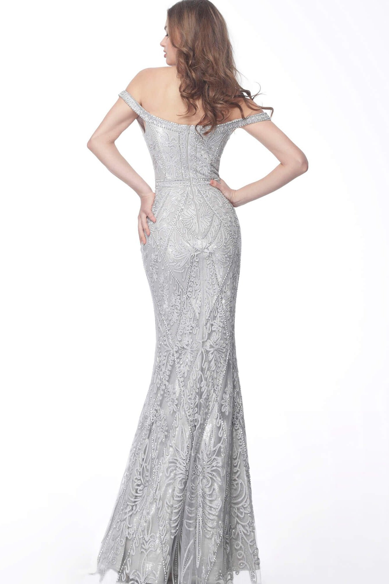 Jovani - 68130SC Embroidery Embellished Plunging Neck Evening Dress