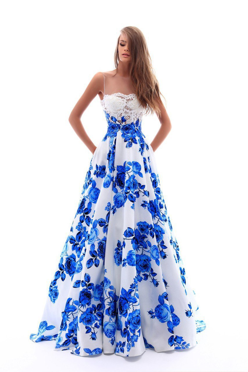 Tarik Ediz - 50231 Lace Illusion Neck Floral Printed Ballgown In Blue and White
