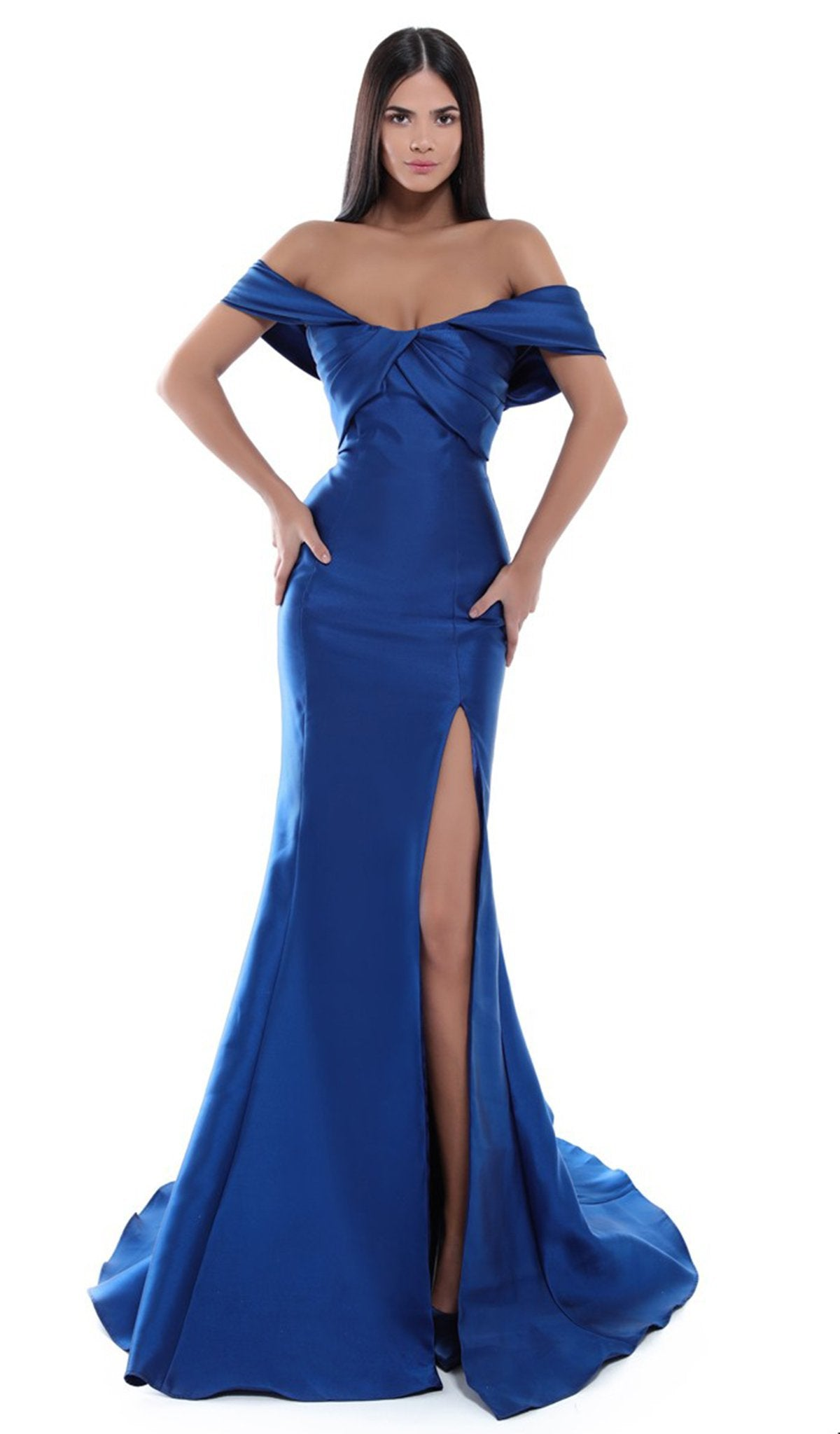 Tarik Ediz - 50448 Pleated Off-Shoulder Mermaid Dress In Blue