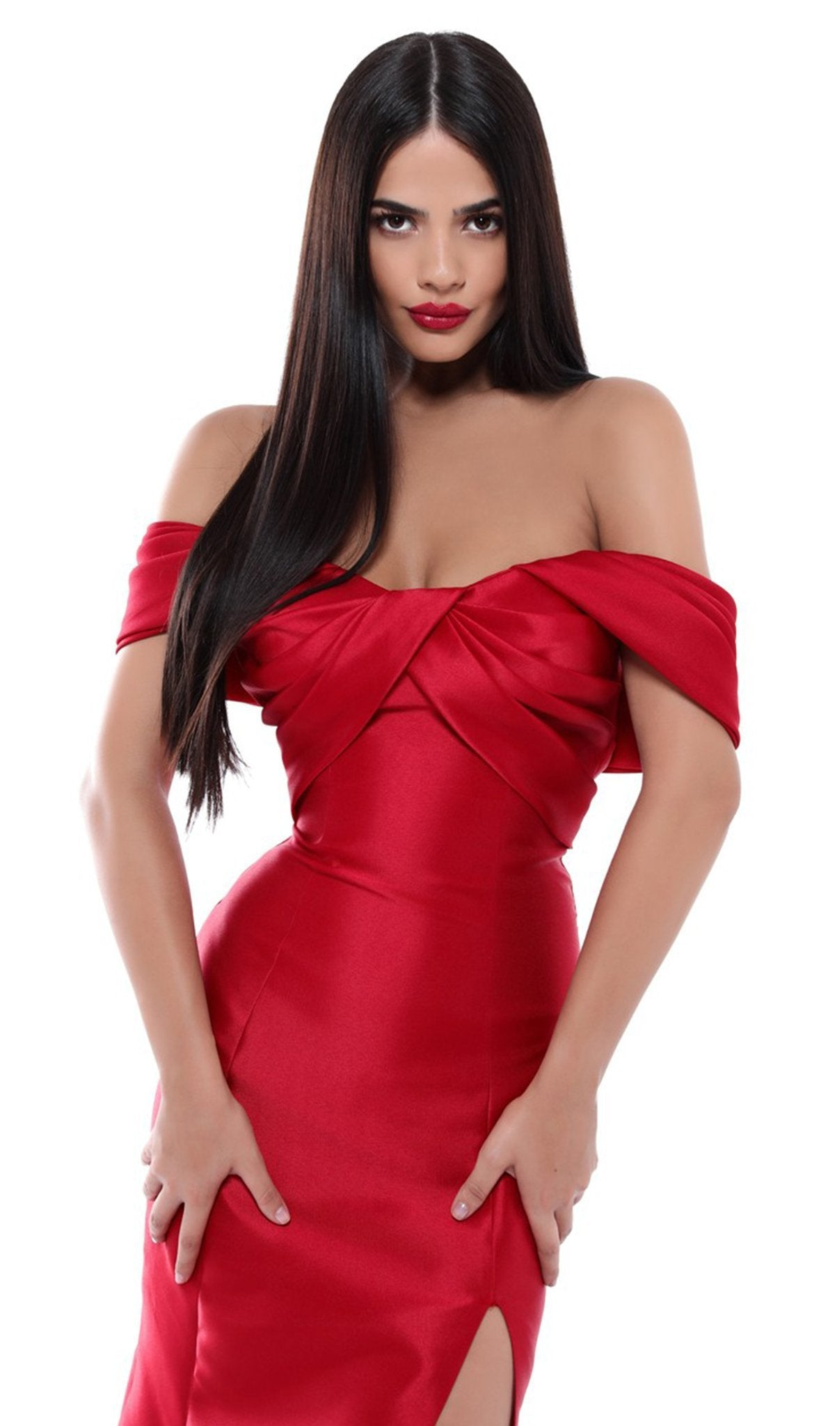 Tarik Ediz - 50448 Pleated Off-Shoulder Mermaid Dress In Red