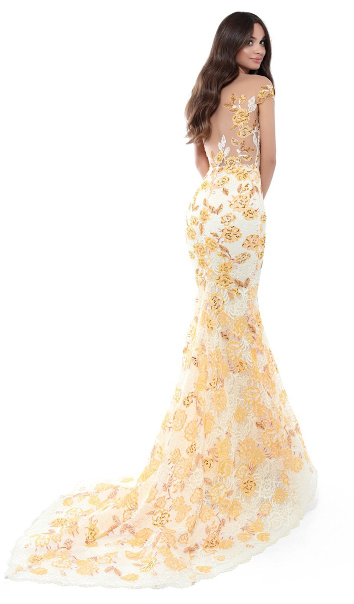 Tarik Ediz - 50493 Floral Lace Cap Sleeve Mermaid Gown With Train In Yellow