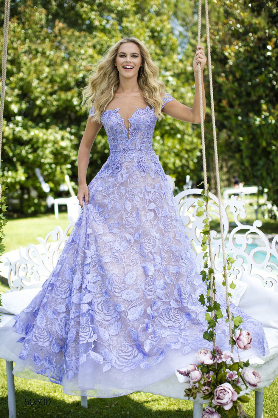 Tarik Ediz - 50500 Floral Lace Appliqued A-Line Prom Gown In Purple