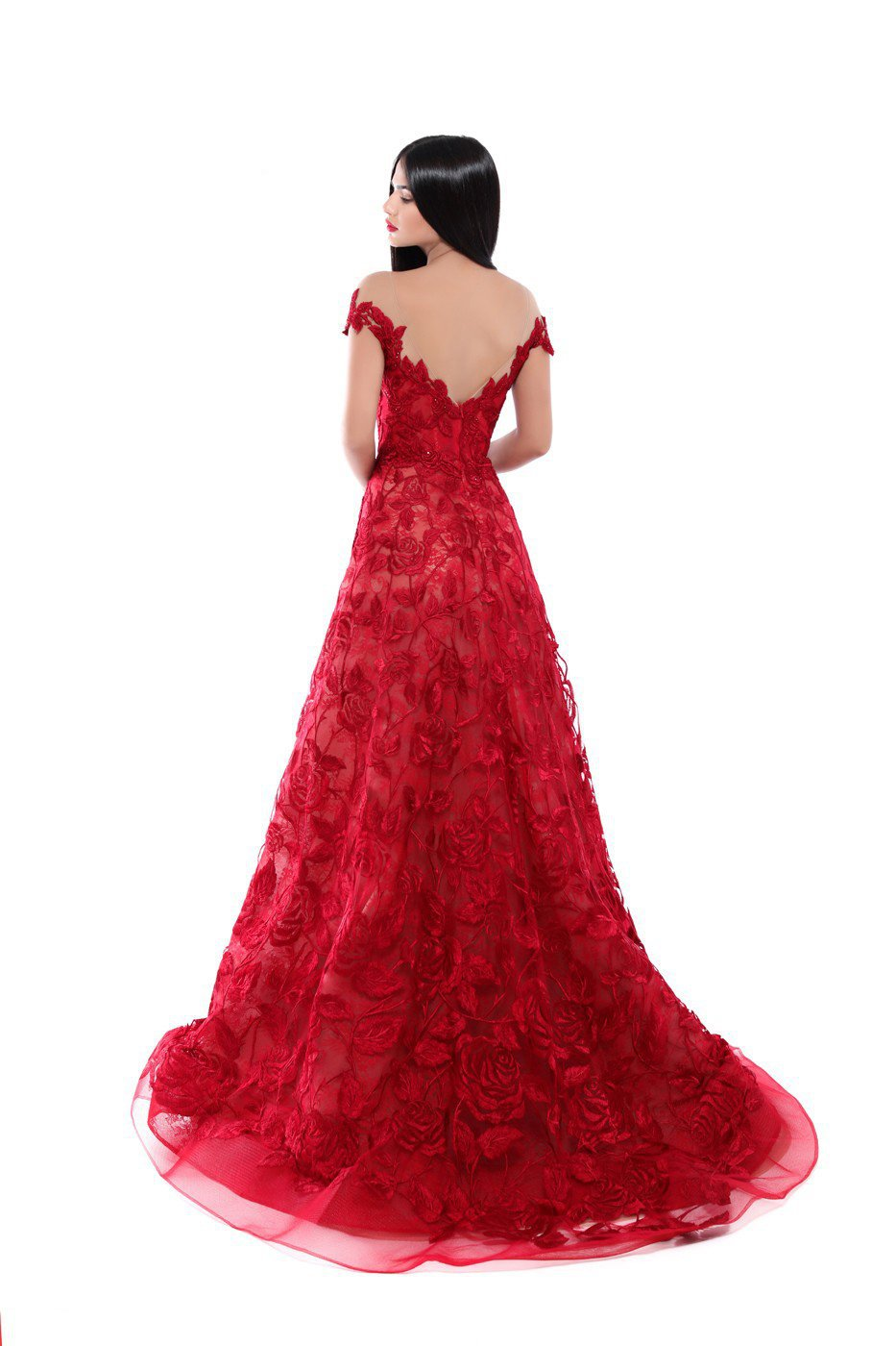 Tarik Ediz - 50500 Floral Lace Appliqued A-Line Prom Gown In Red