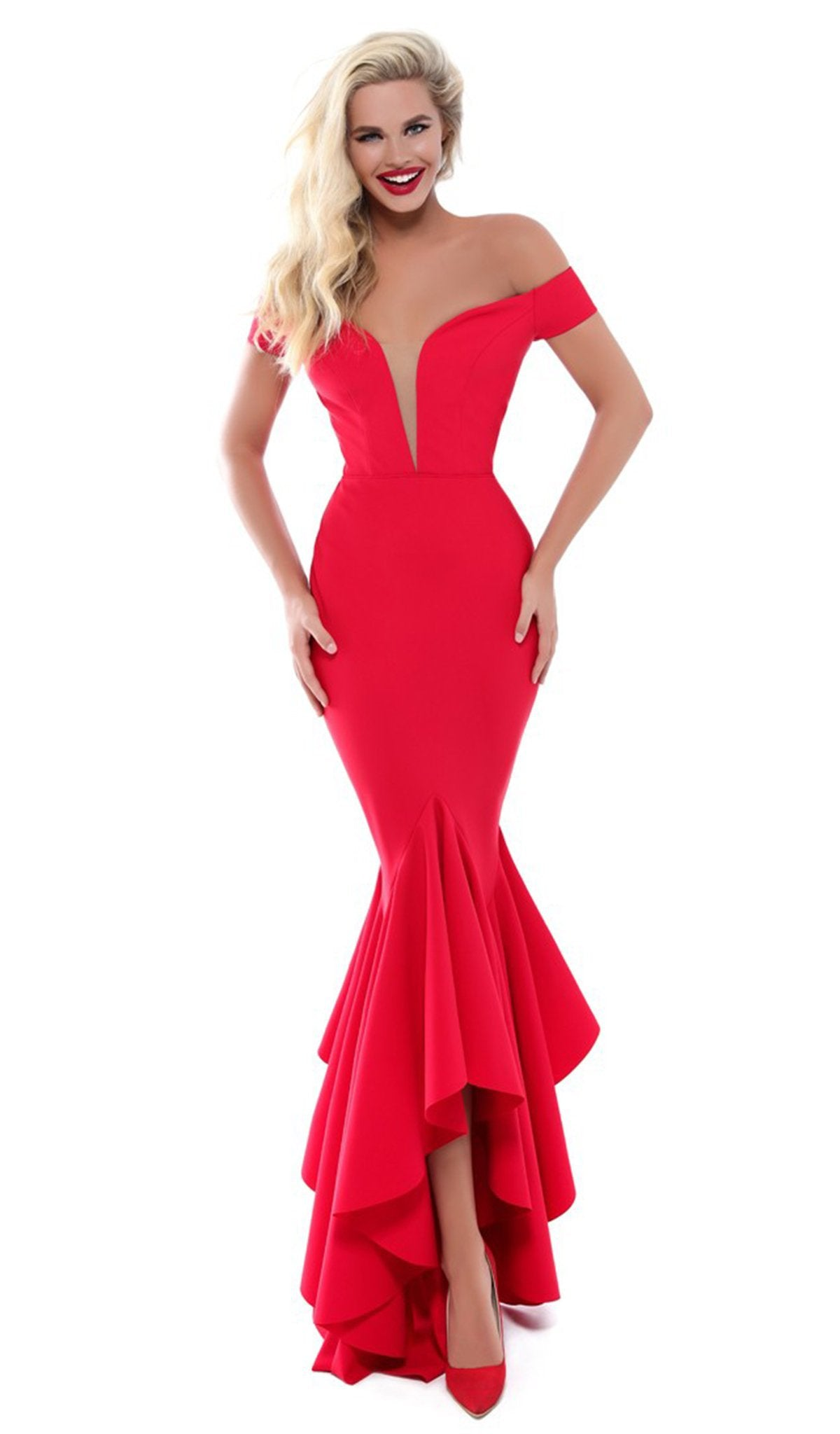 Tarik Ediz - 50513 Plunging Off Shoulder High Low Mermaid Gown In Red