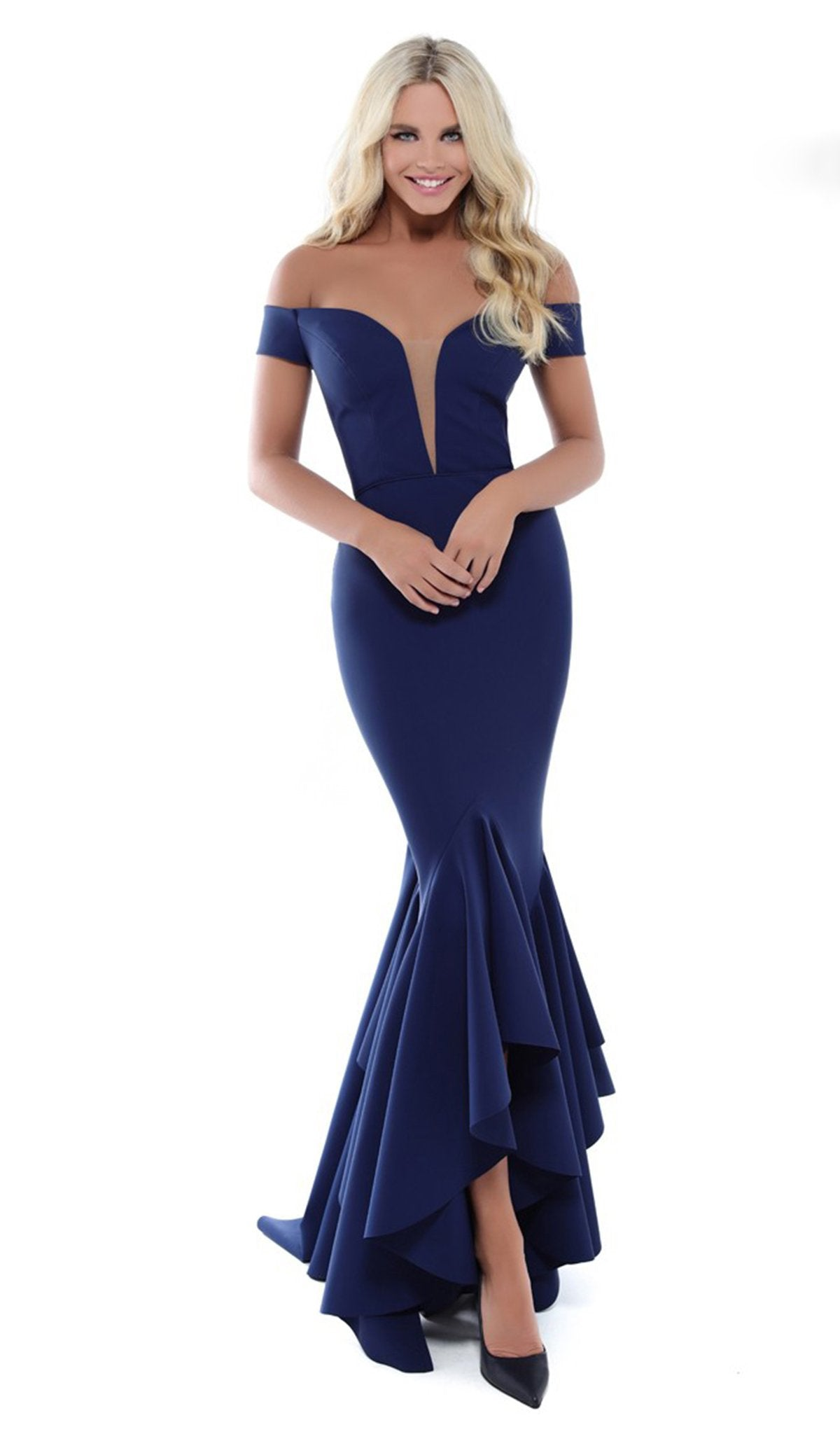 Tarik Ediz - 50513 Plunging Off Shoulder High Low Mermaid Gown In Blue