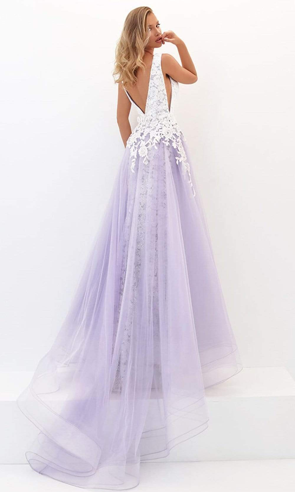 Tarik Ediz - 50732 Embellished Deep V-neck Dress With Overskirt Prom Dresses