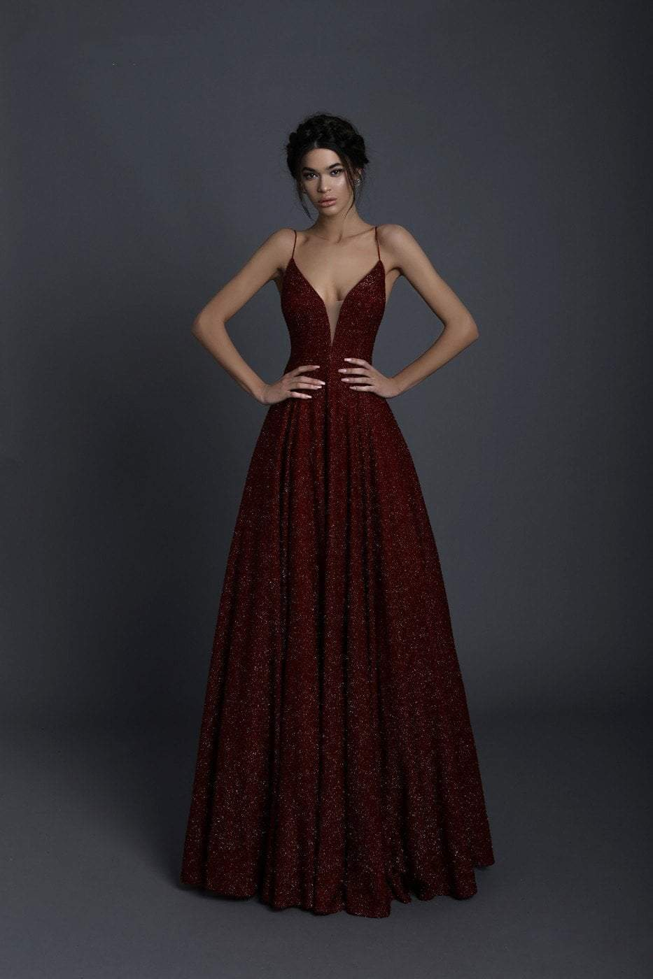 Tarik Ediz - 93690 Illusion Plunging Backless Sparkly Ballgown In Red