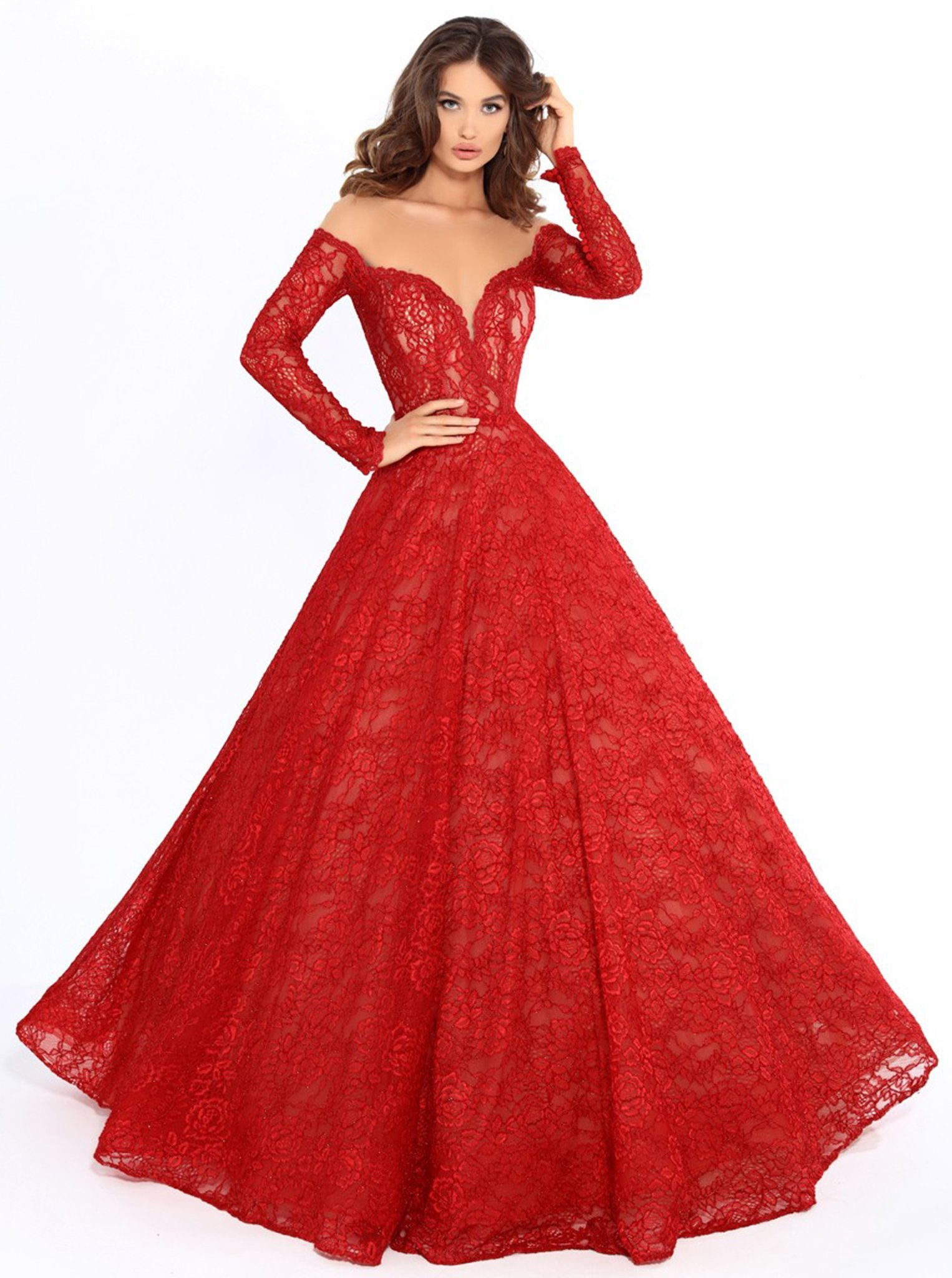 Tarik Ediz - 93729 Illusion Nude Shoulders Allover Lace Ballgown In Red