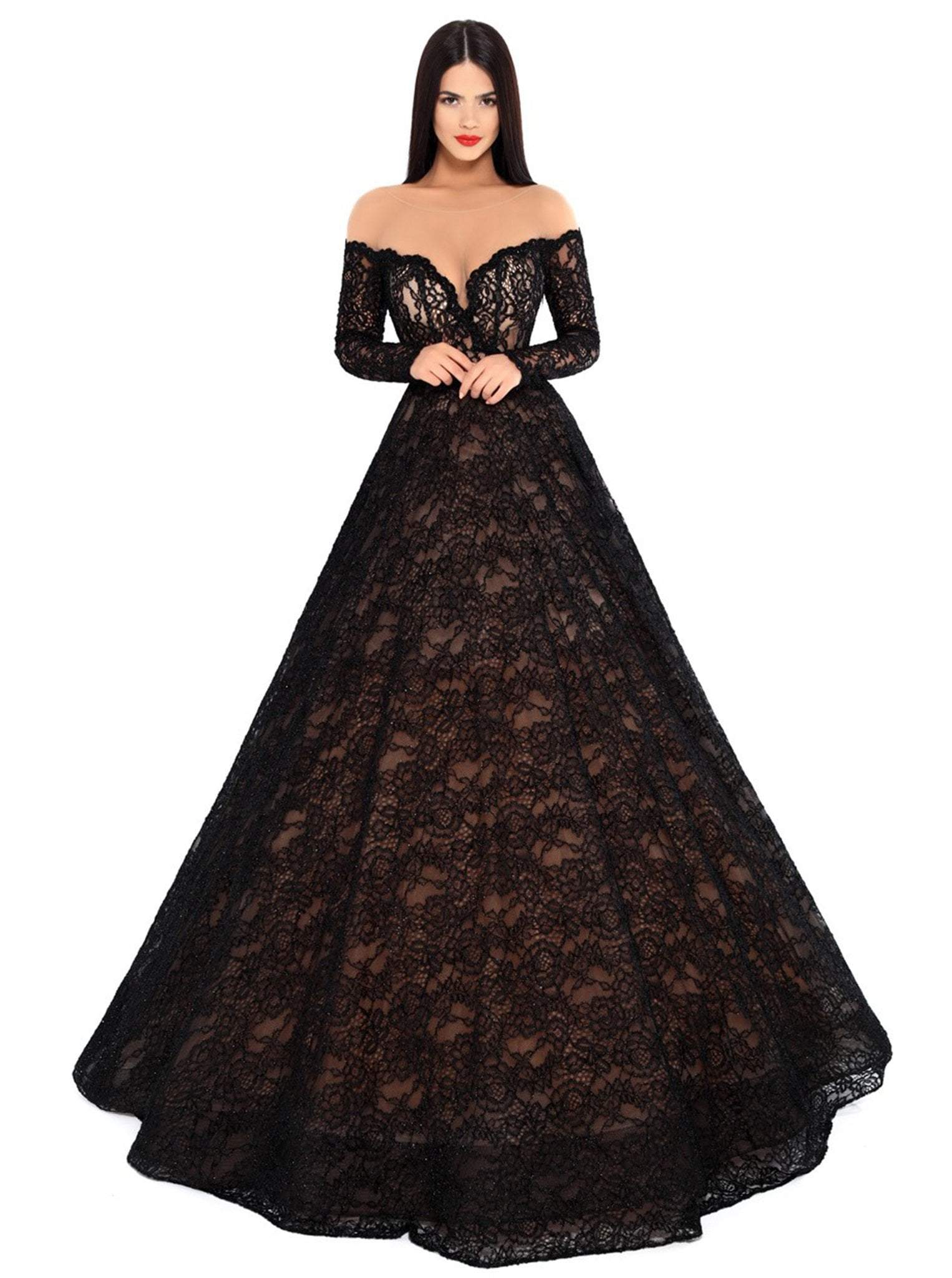 Tarik Ediz - 93729 Illusion Nude Shoulders Allover Lace Ballgown In Black