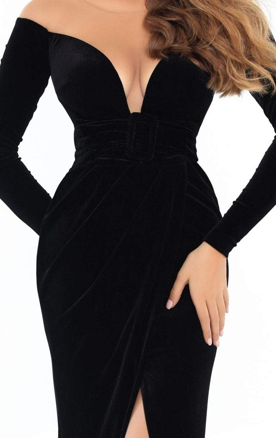 Tarik Ediz - 93749 Fitted Long Sleeves Evening Gown with Slit In Black