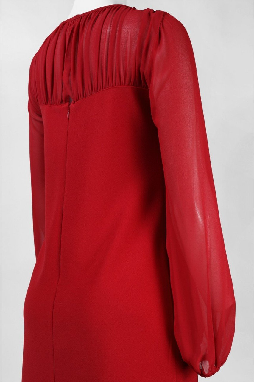 Taylor - Chiffon and Jersey Long Sleeve Dress 5915M in Red