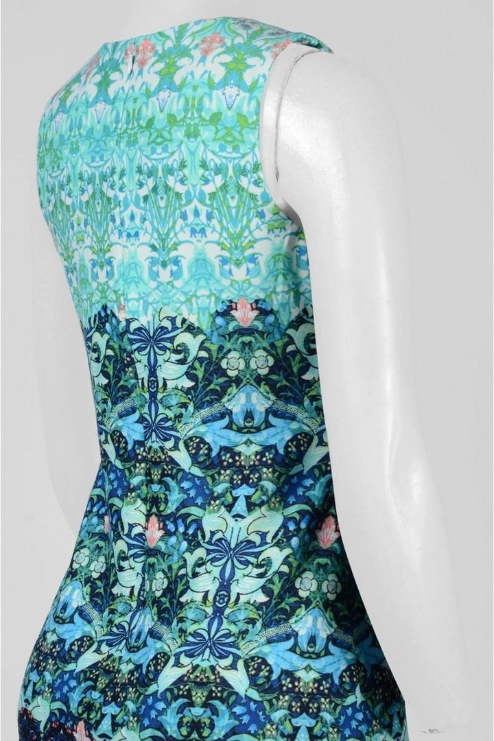 Taylor - 9173MJSC Multi-Print JEwel Neck Scuba Dress
