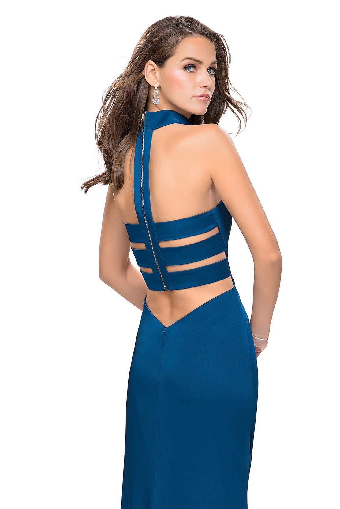La Femme - Choker Style Fitted High Slit Dress 25735 In Blue