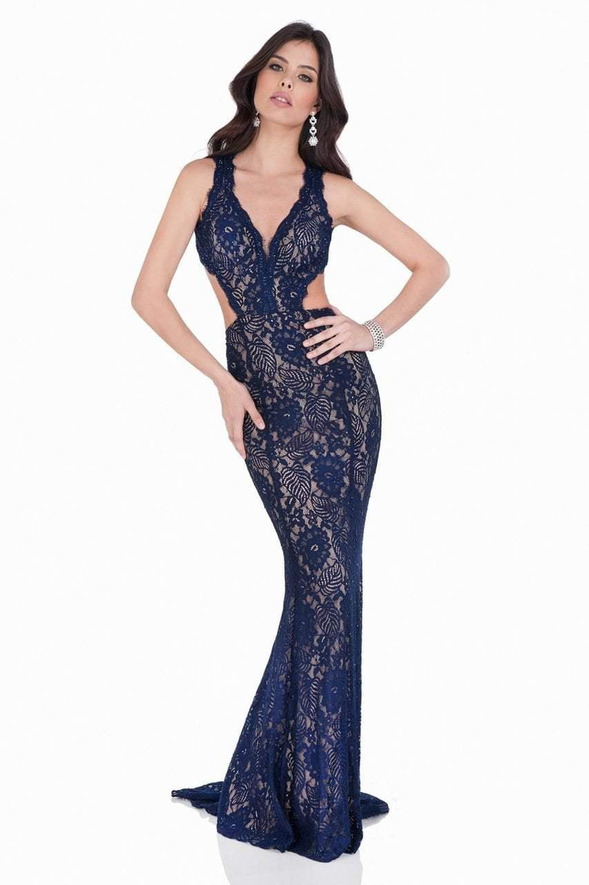 Terani Couture - Scalloped Lace Mermaid Gown with Cutouts 1623E1652 In Navy Nude