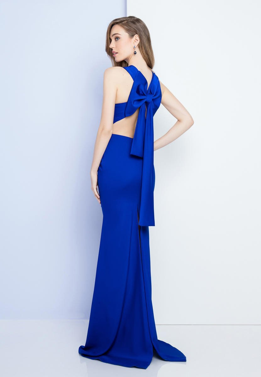 Terani Couture - 1721E4042 Sleeveless Criss Cross Gown with Bow Back in Blue