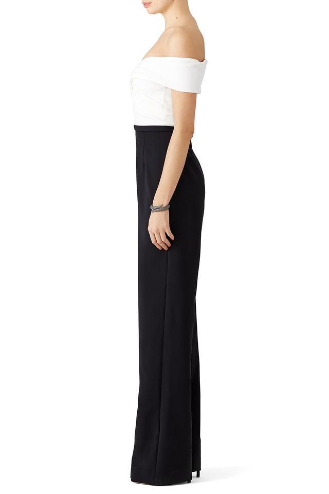 Theia - 883335 Crisscross Pleated Colorblock Jumpsuit In Black and White