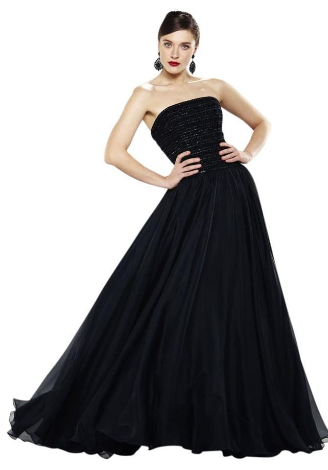 Theia - Strapless Long Gown 880927 in Black