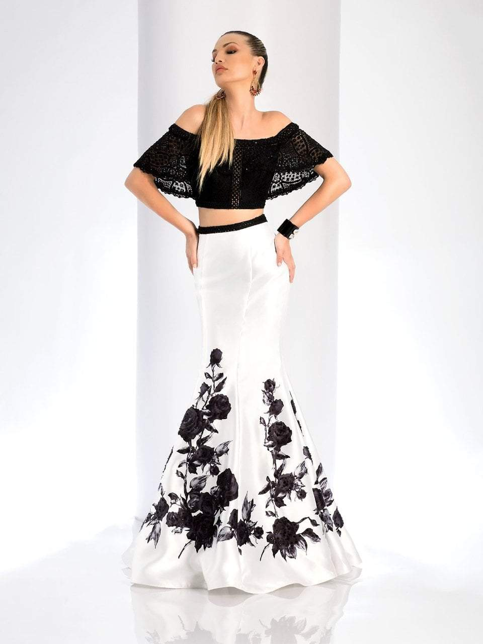 Clarisse - 4906 Lace Off-Shoulder Two-Piece Mermaid Gown in White and Black