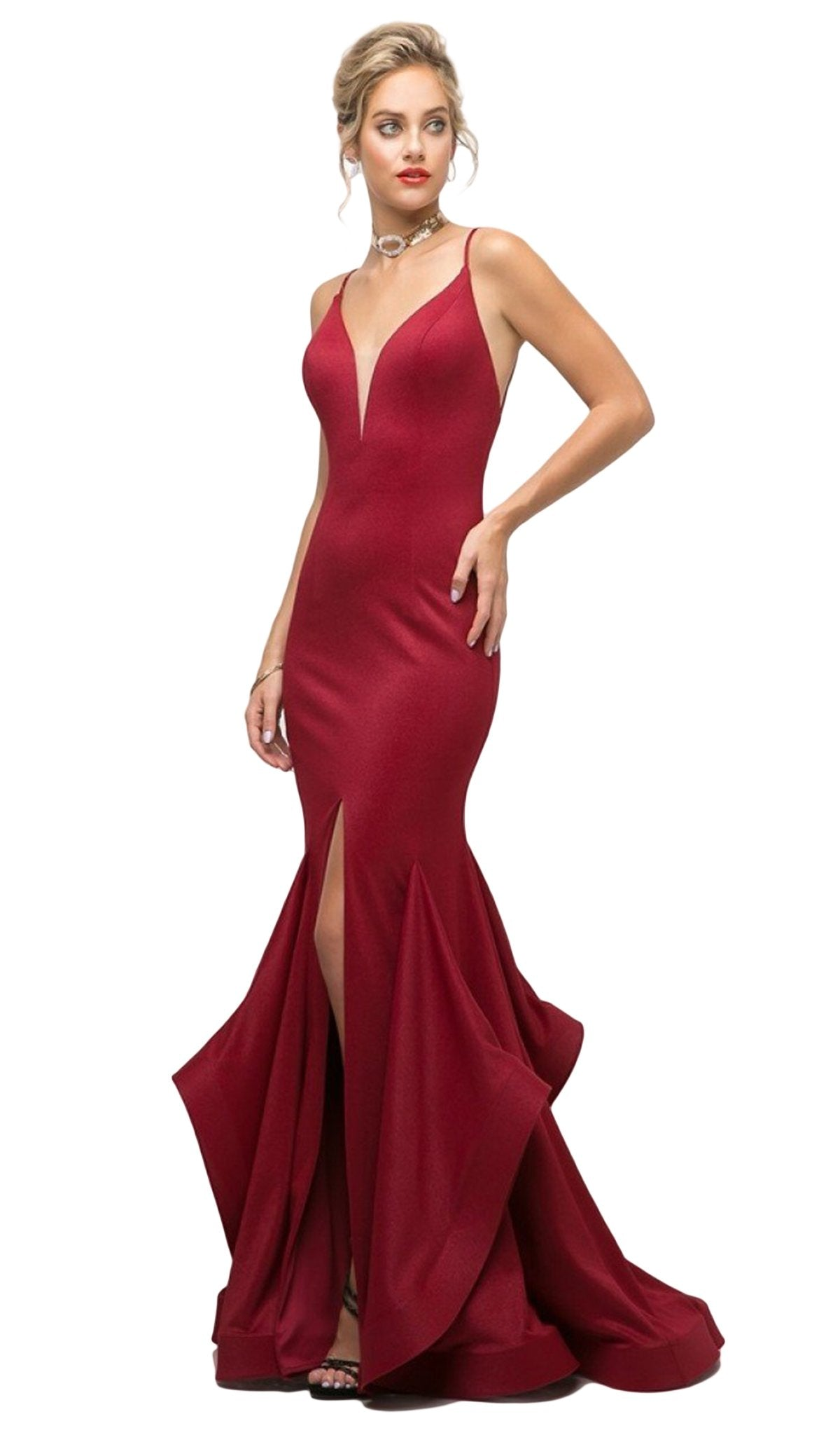Cinderella Divine - UE006 Fitted V-Neck Stretch Knit Mermaid Gown In Red