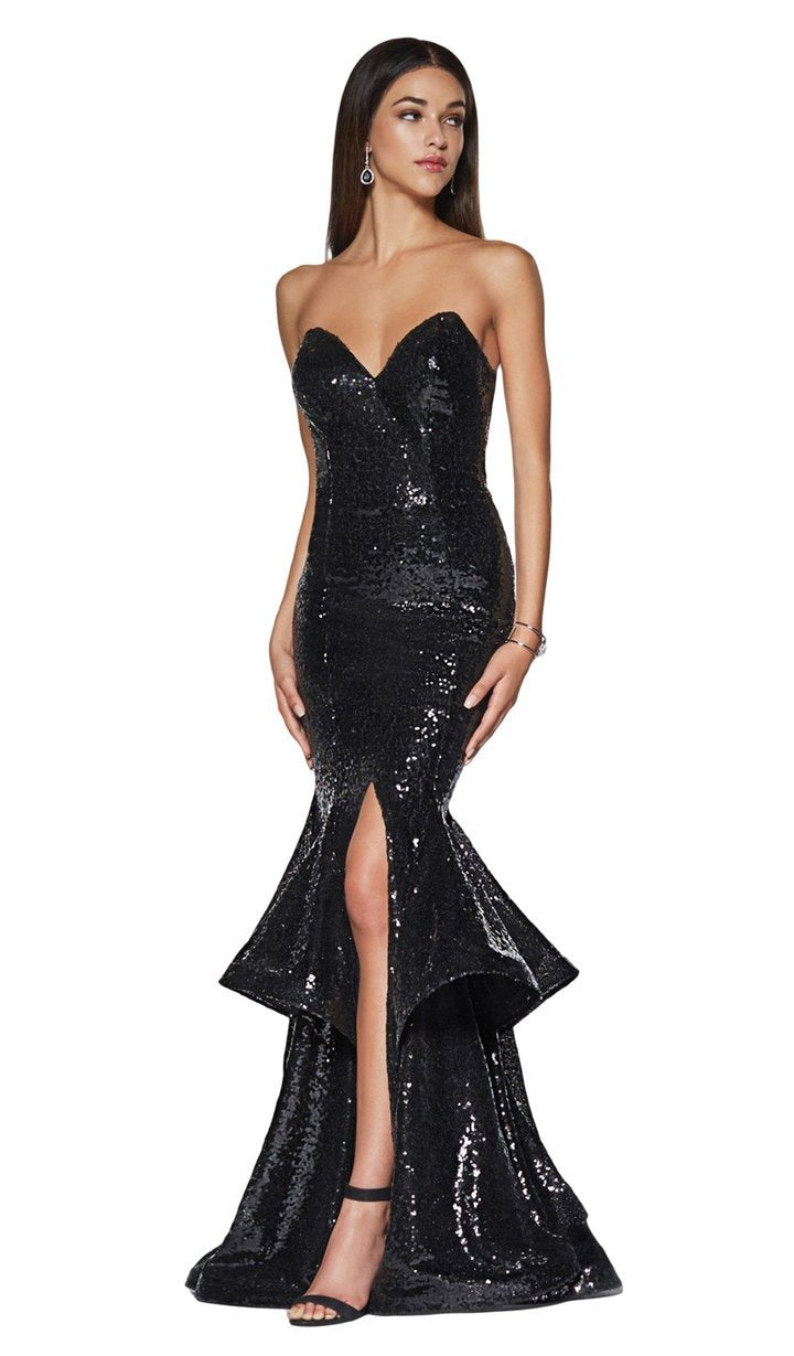 BlackCinderella Divine - UE010 Allover Sequin Tiered Ruffle Mermaid Gown In Black