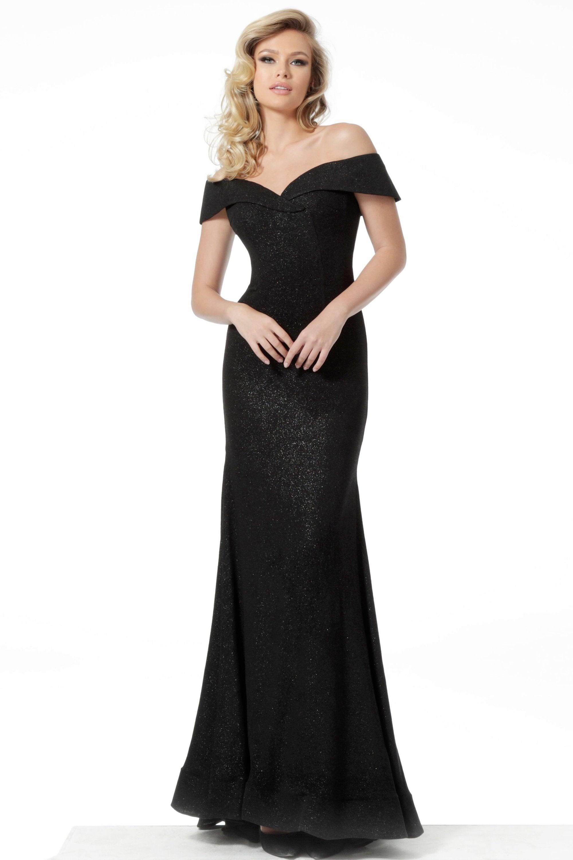 Jovani - 64533 Off-Shoulder Long Column Dress In Black