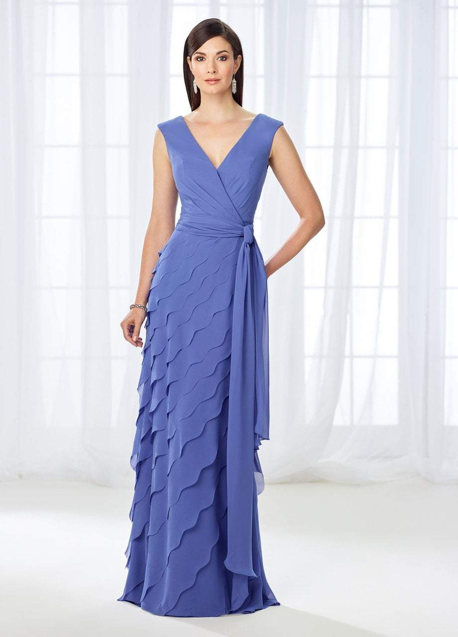 Cameron Blake - 118668 Cap Sleeve Wrap Tie Scalloped Evening Gown In Purple
