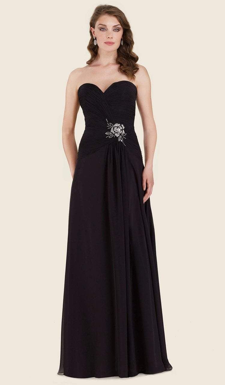 Rina Di Montella - RD2604 Pleated Sweetheart Chiffon A-line Gown in Black