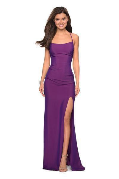 La Femme - 27660 Plunging Back Ruched High Slit Gown In Purple