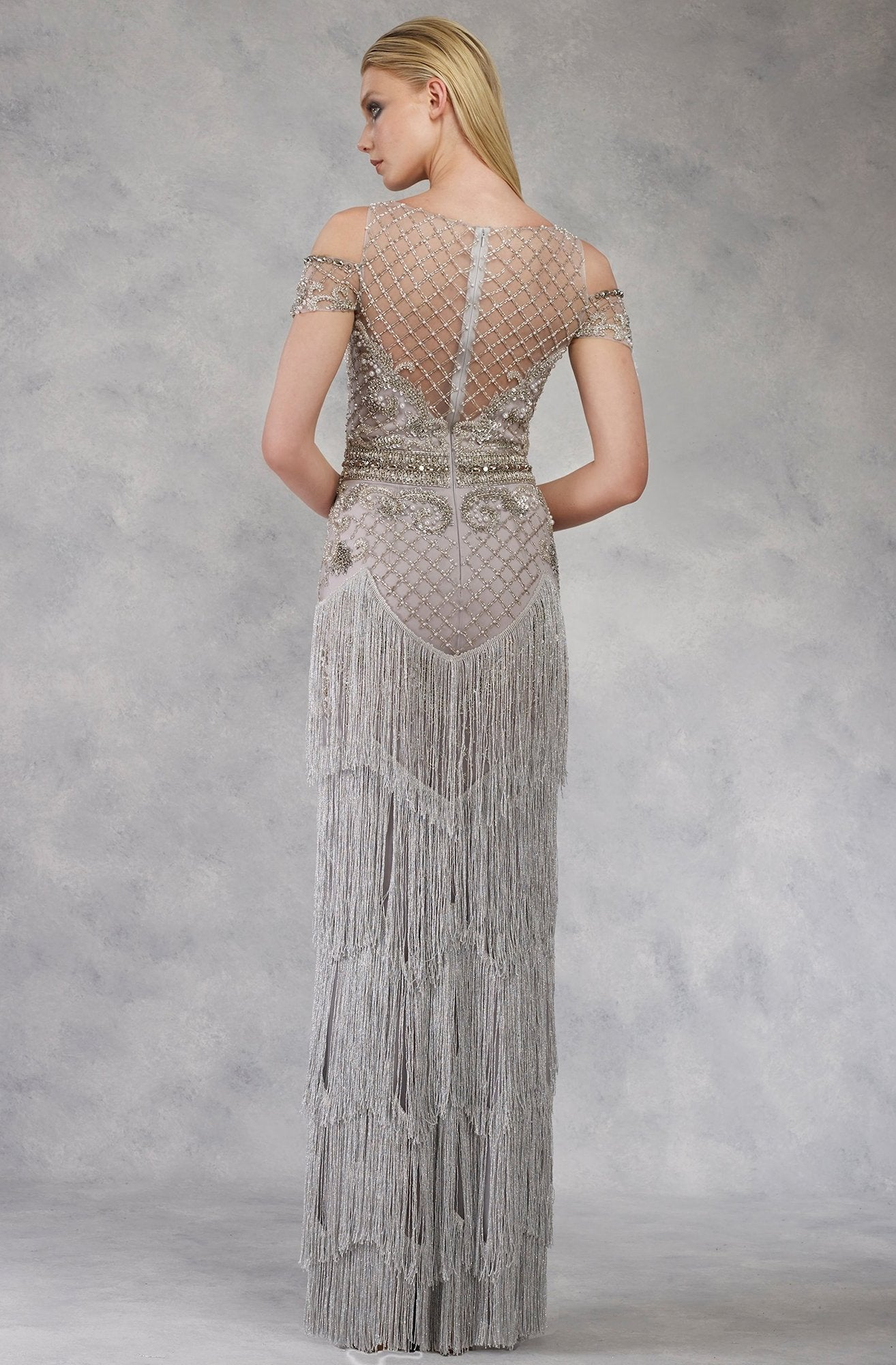 Janique - Lattice Beaded Illusion Bateau Fringe Gown W1683 In Silver and Gray