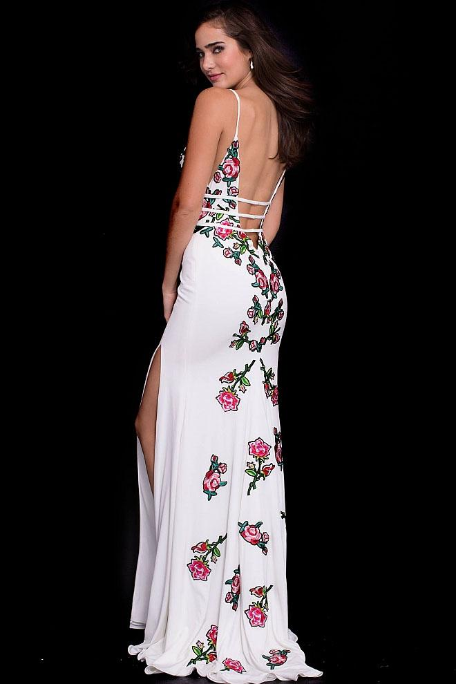 Jovani - 61150 Embroidered Deep V-neck Sheath Dress in White
