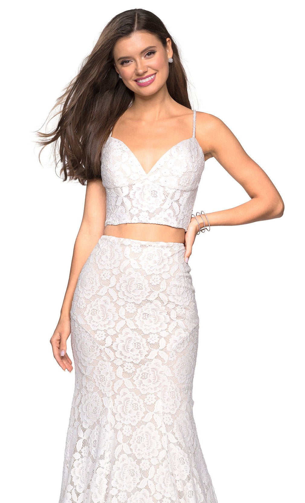 La Femme - 27589SC Spaghetti Strap Two-Piece Lace Mermaid Dress