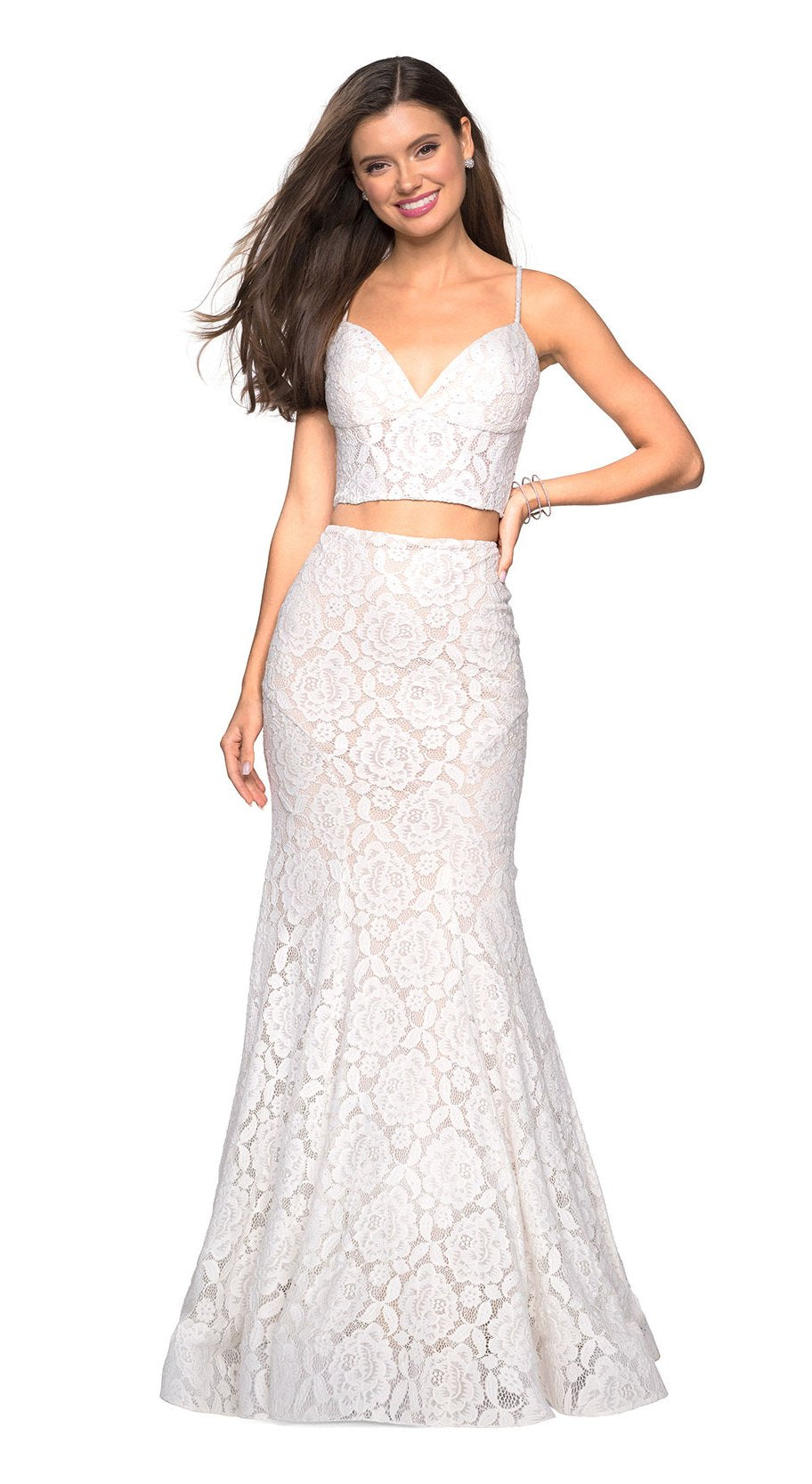 La Femme - Two Piece Lace Stretch Jersey Mermaid Evening Gown 27589 In White