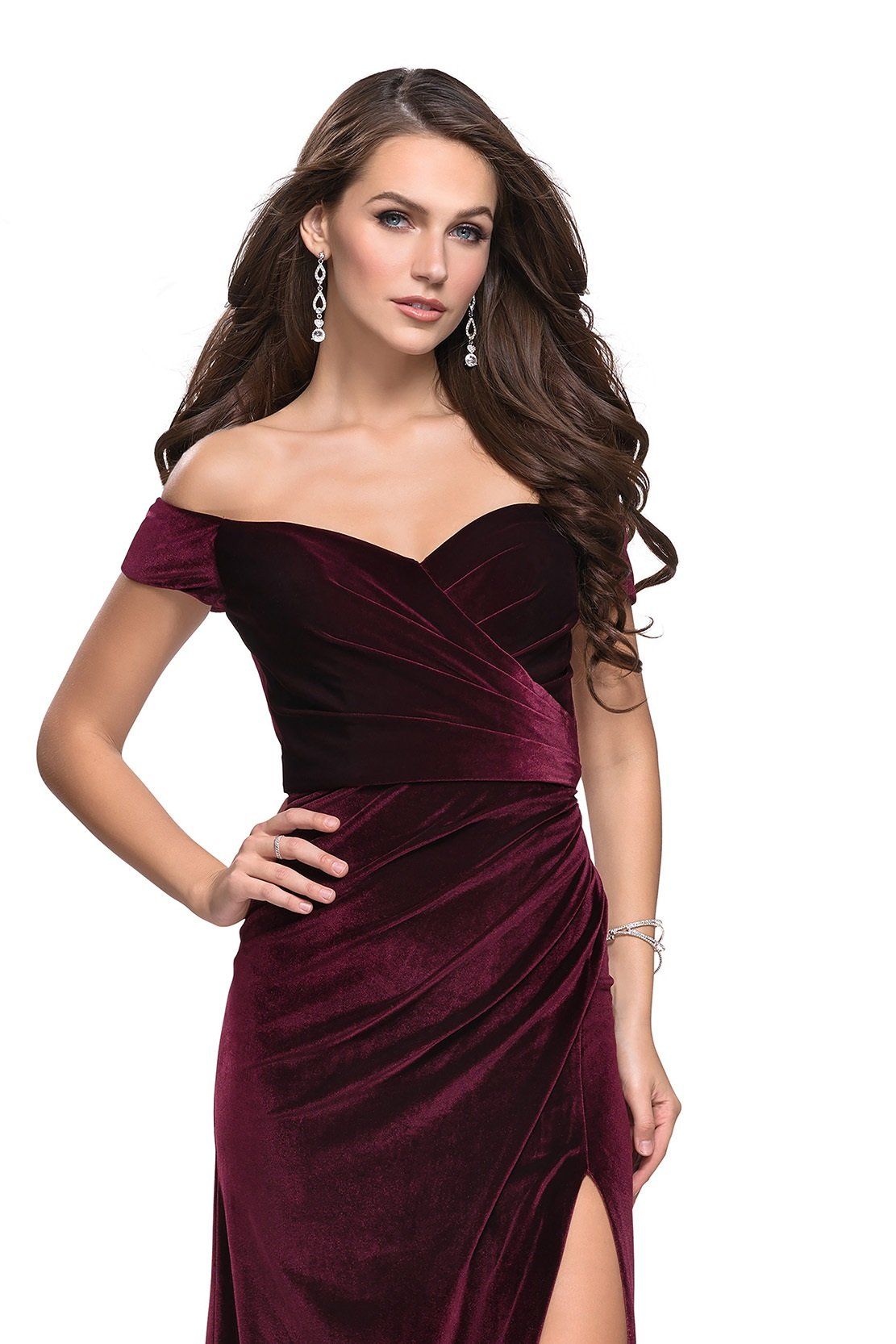 La Femme - 25213SC Velvet Off-Shoulder Fitted Dress with Slit