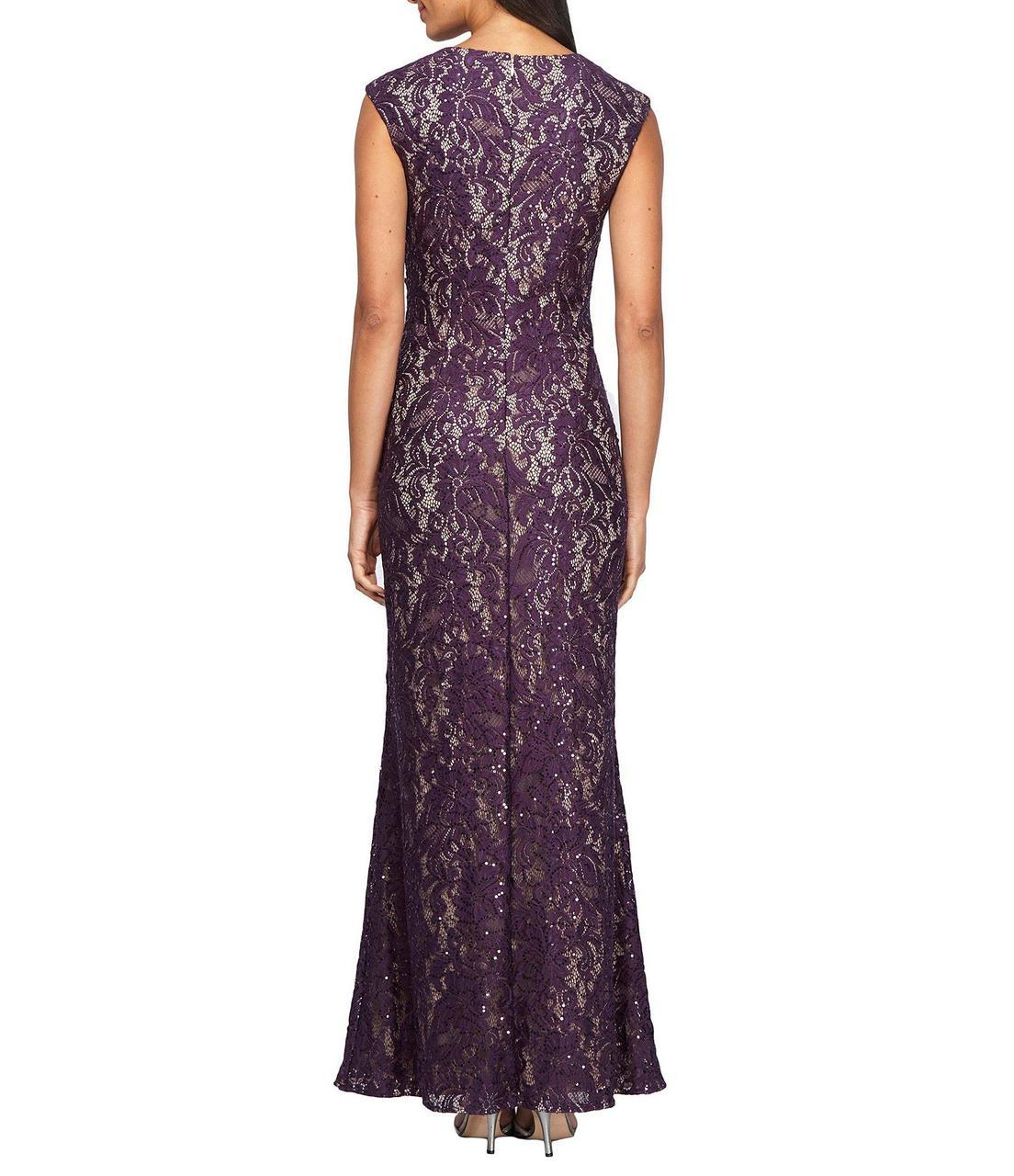 Alex Evenings - 1121596 Embroidered Lace Front Cut Out Dress in Purple