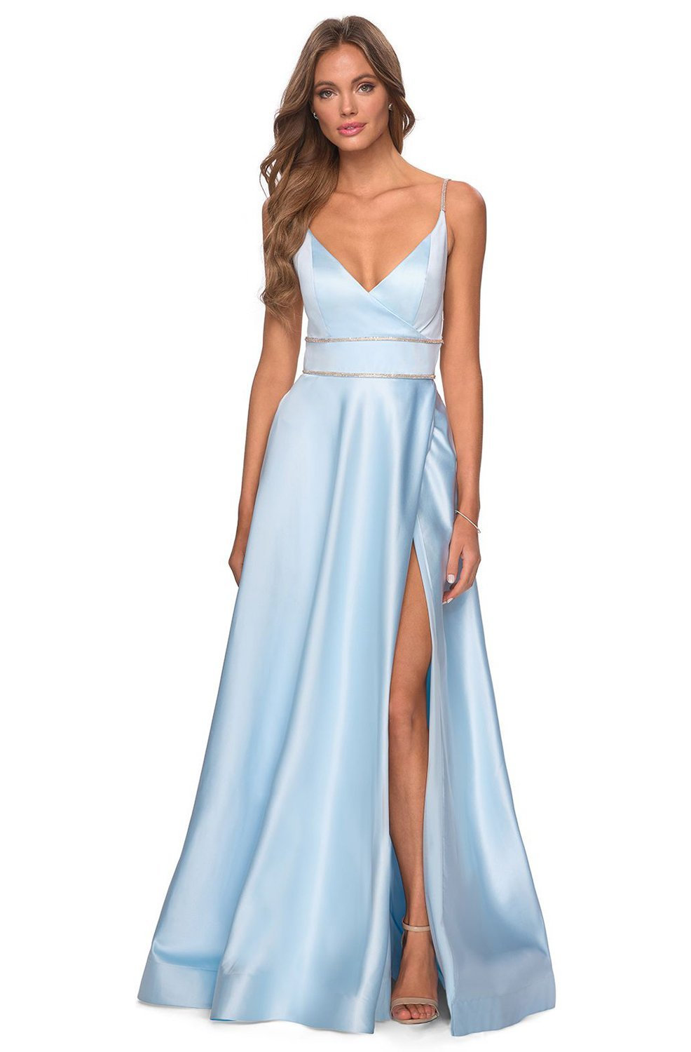 La Femme - Strappy Backless High Slit A-Line Dress 28385SC In Blue