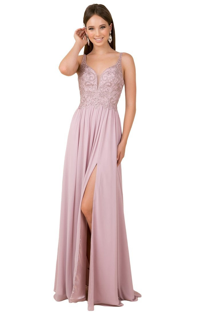 Nox Anabel - Sleeveless Beaded Lace Applique Bodice A-Line Gown Y299 - 1 pc Light Mauve In Pink