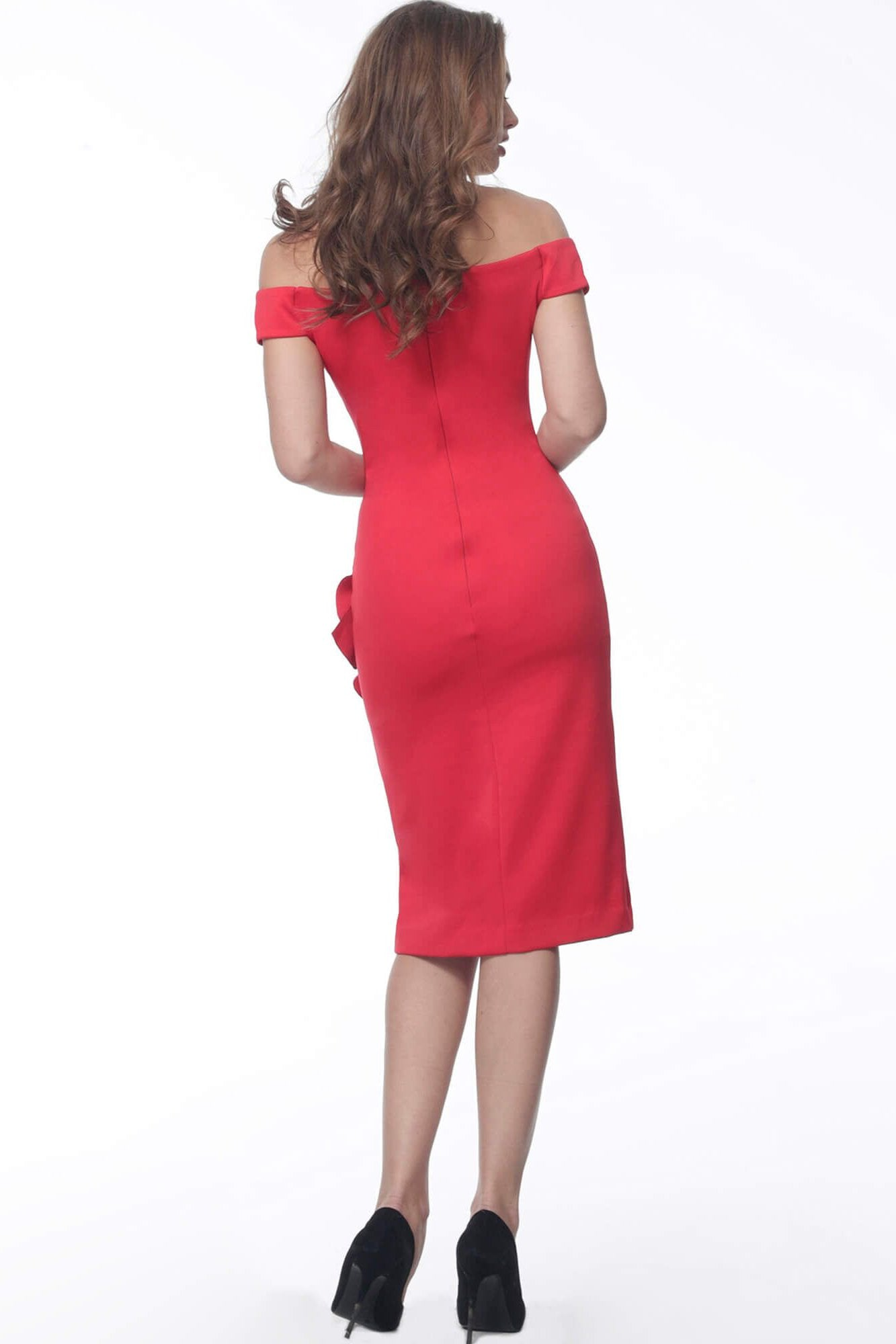 Jovani - 68769 Plunging Off-Shoulder Sheath Dress With Ruffle In Red