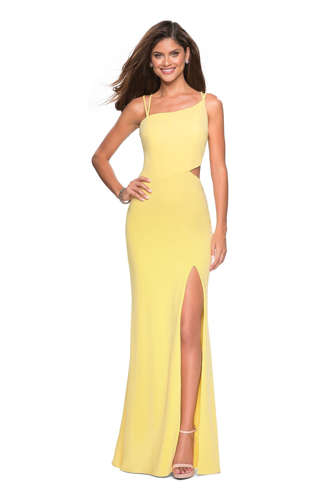 La Femme - Asymmetrical Neckline Strappy Jersey Evening Dress 27126 - 1 pc Yellow In Size 2 Available