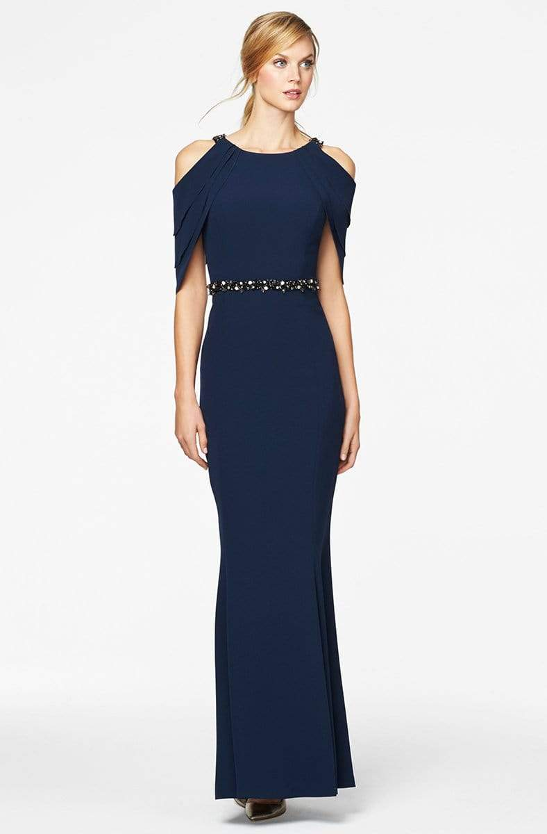 Alexander by Daymor - 350 Cold Shoulder Beaded Waist Sheath Gown Mother of the Bride Dresses 2 / Midnite