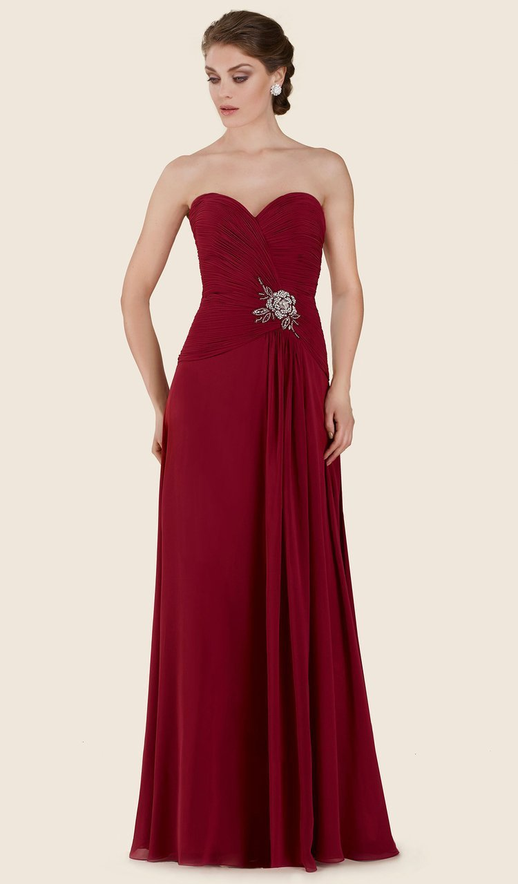 Rina Di Montella - RD2604 Pleated Sweetheart Chiffon A-line Gown in Red
