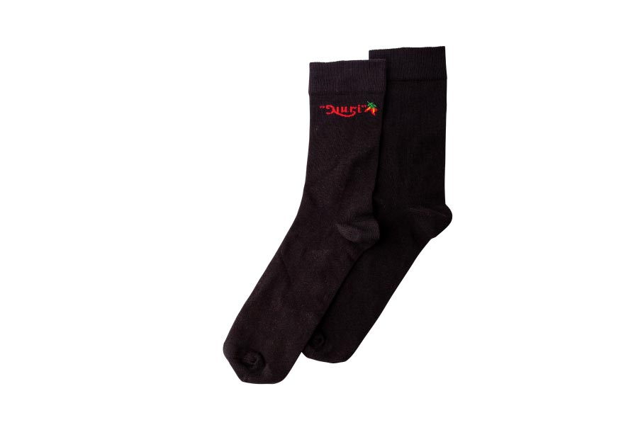 Mid-Length Nuri Socks in black with chilies  EU 38-40/US 7.5-9