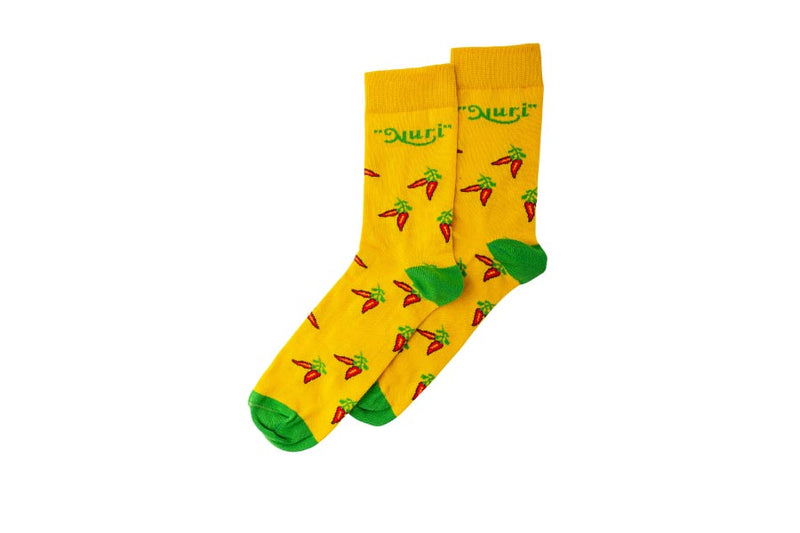 Mid-Length Nuri Socks in yellow with Chilies EU 38-40/US 7.5-9