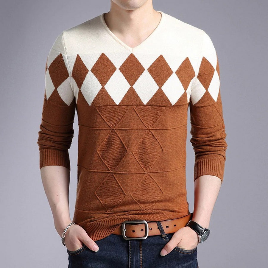 Men's Geometric Long-Sleeve Sweater