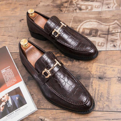 Men's Alligator Pattern Leather Dress Shoes
